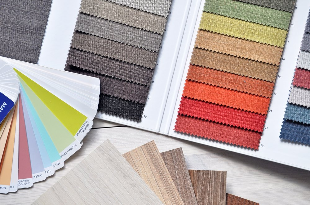 Designers color palettes, flooring, color swatches