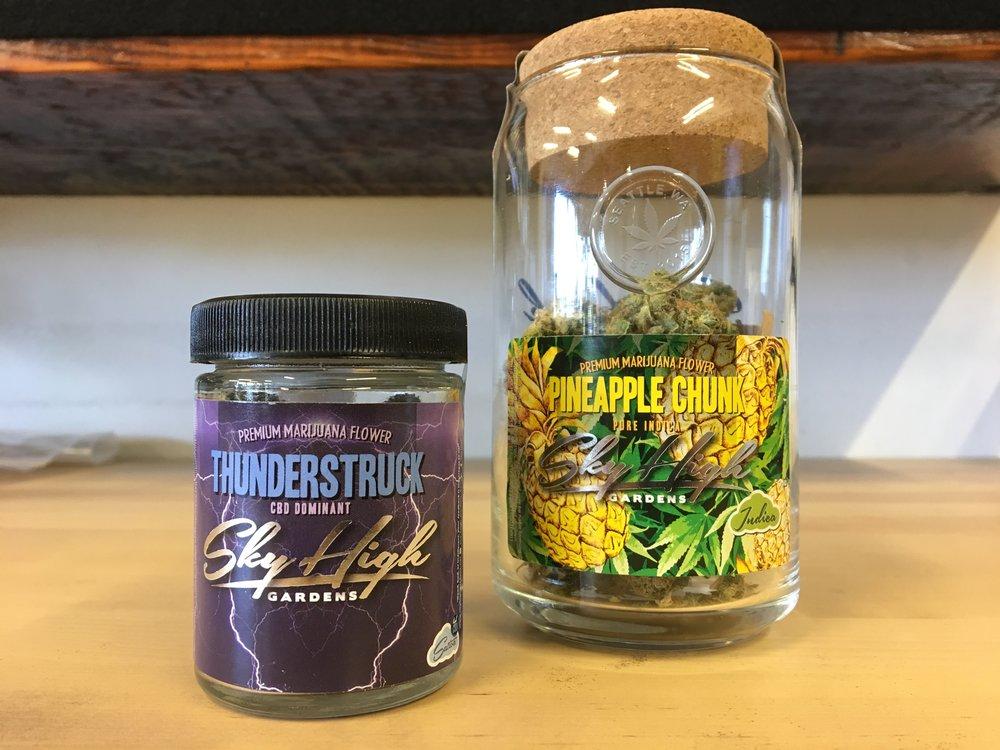 Hashtag Cannabis featuring Sky High Gardens Thunderstruck High CBD flower and Pineapple Chunk weed strain