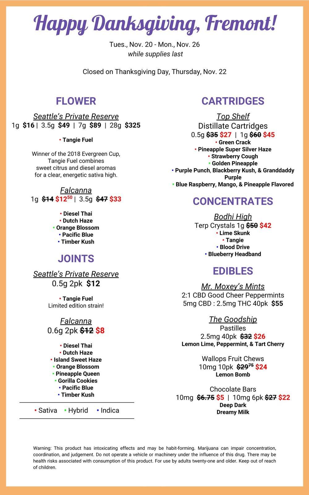 Fremont Happy Danksgiving sale menu for 11.20.2018.jpg
