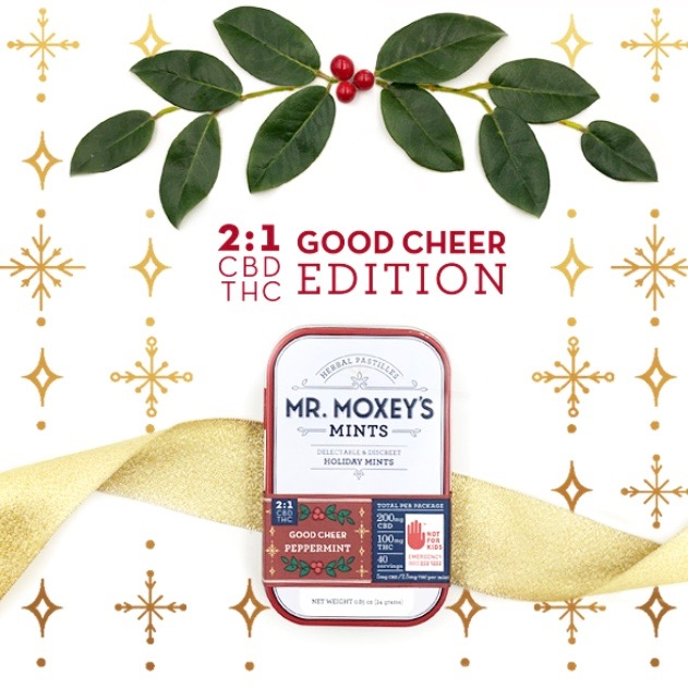 Mr. Moxey's Good Cheer2:1 CBD Peppermints ($55) - The most popular edible in Washington state, now microdosed with just 2.5mg of THC and 5mg CBD per mint, and in a sweet, special holiday tin! This low-dose edible is a great gift for anyone looking to stay in good cheer this holiday season.