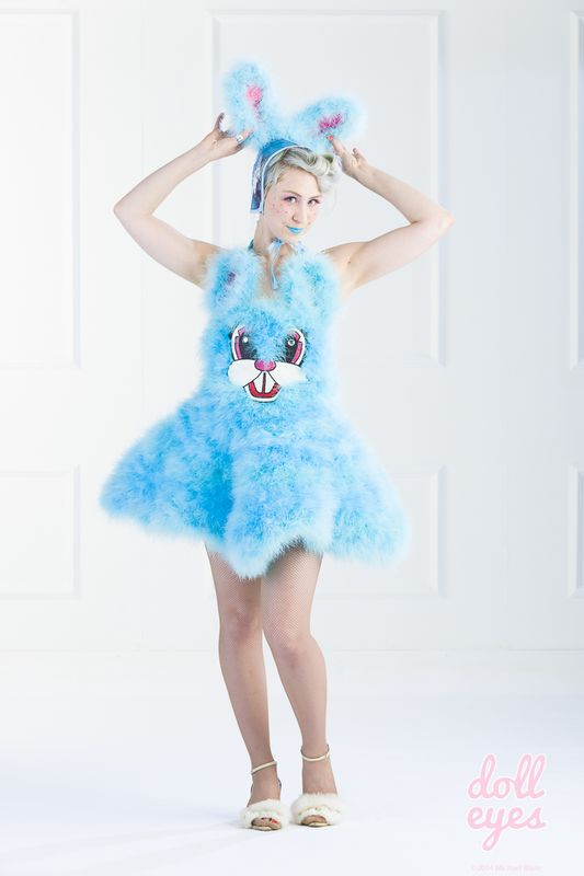 2014 Doll Eyes collaboration with Elena Kanagy-Loux Marabou Bunny Dress and Vinyl bonnet modeled by Gina Schiappacasse and shot by Michael Blase