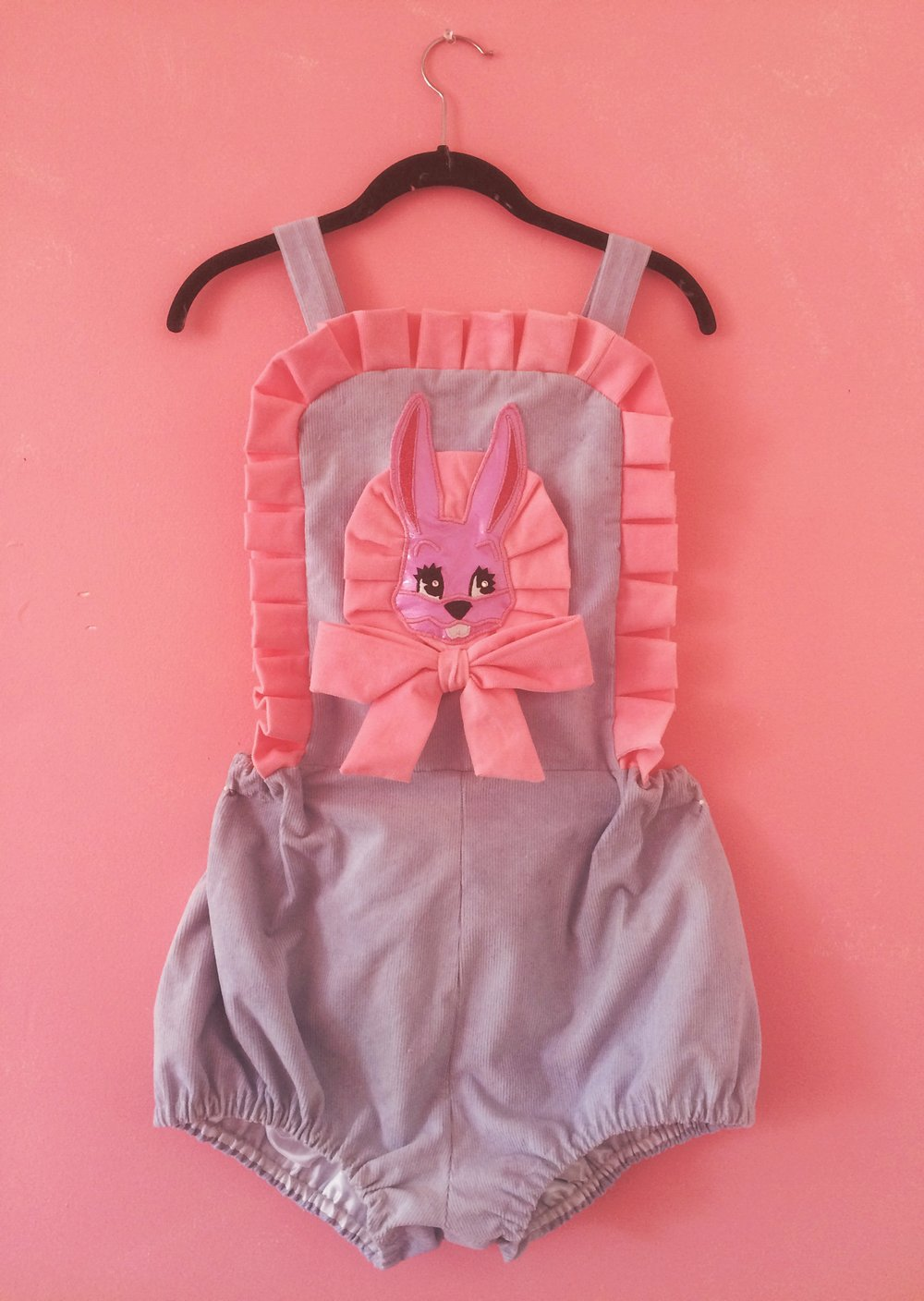 2016 Hand Dyed Corduroy Bunny Applique Romper (custom order)