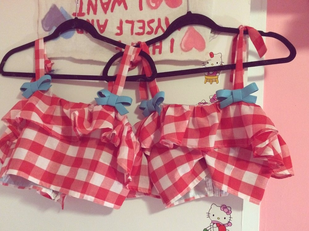 2015 Gingham Crop Top set with Leather Bows
