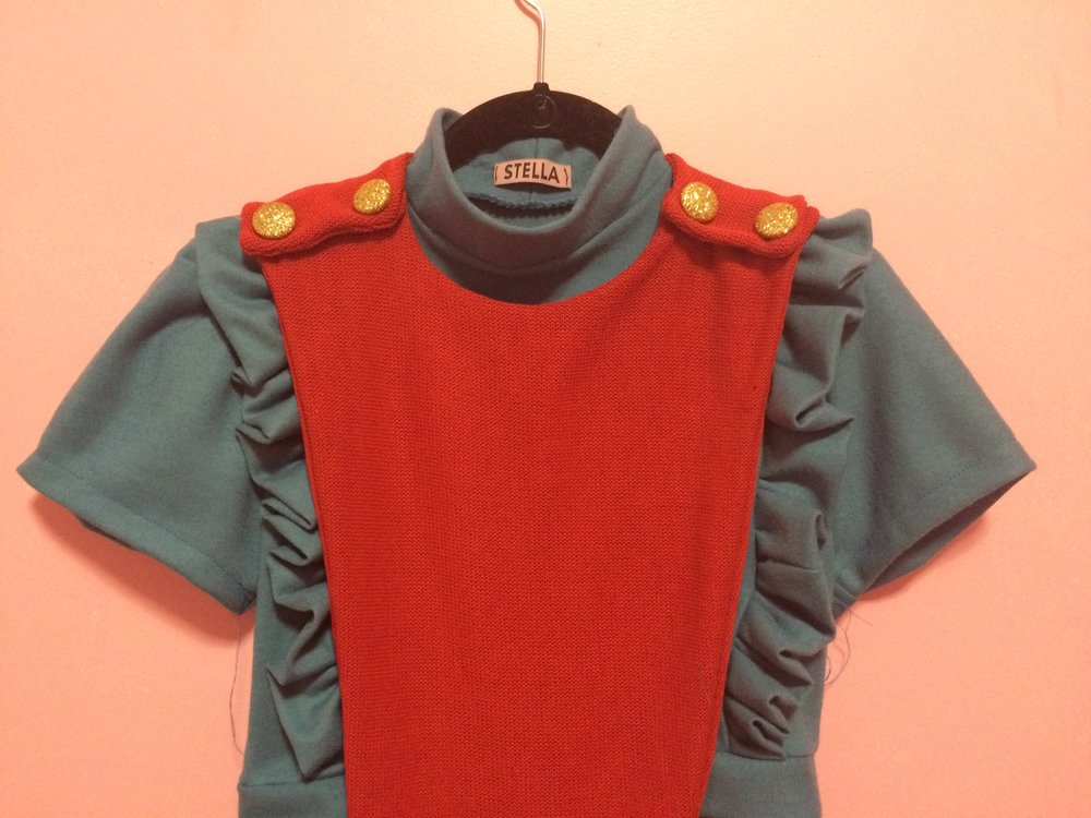 2016 Red Knit Romper and Blue Frill Crop Top created for Melanie Martinez