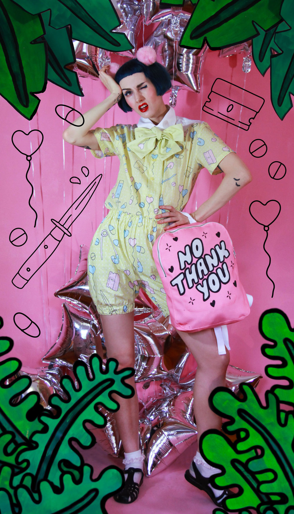 2017 Hair Poms, Bad Baby textile print button up, bloomers, and bow tie and No Thank You print backpack shot by Darraugh Dandurand
