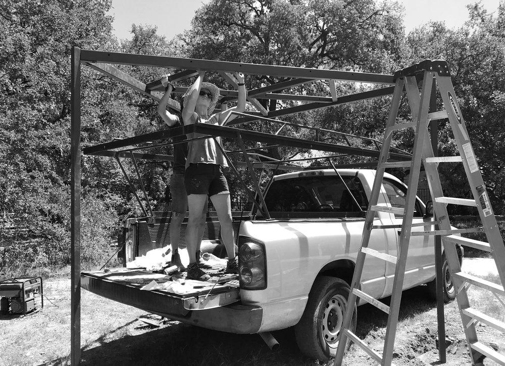 erecting the steel frame