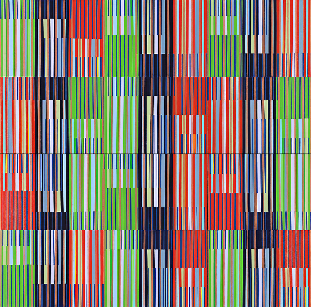 12 Panel Stripe Oil on Board 180cm x 180cm