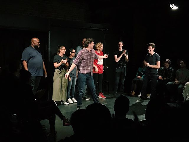 """The algorithm is all fucked so none of you will see this (it's my fault, I haven't been posting, whatever), but this is my new Harold team, LoverBoy!! We will be performing at UCB weekly for the next year and I could not be more excited 🤩 Also the name """"Loverboy"""" was a joke pitch I wrote into our voting doc but @rrybrator loved it so much it eventually became our name. And now I like it for real! 💕 📸: @santos_cordero #ucb #haroldnight #ucbloverboy"""
