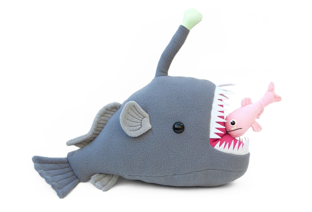 Mariana the anglerfish and chummy the lanternfish plush toys - Fleece, felt, polyester fiberfill, polyester thread, plastic buttons, screen printing ink, rare earth magnetsApprox. 18