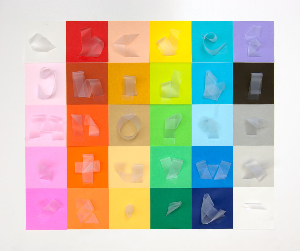 Clear tape alphabet - Published in Uppercase magazine, Fall 2013 issueOrigami paper, clear tapeApprox. 18