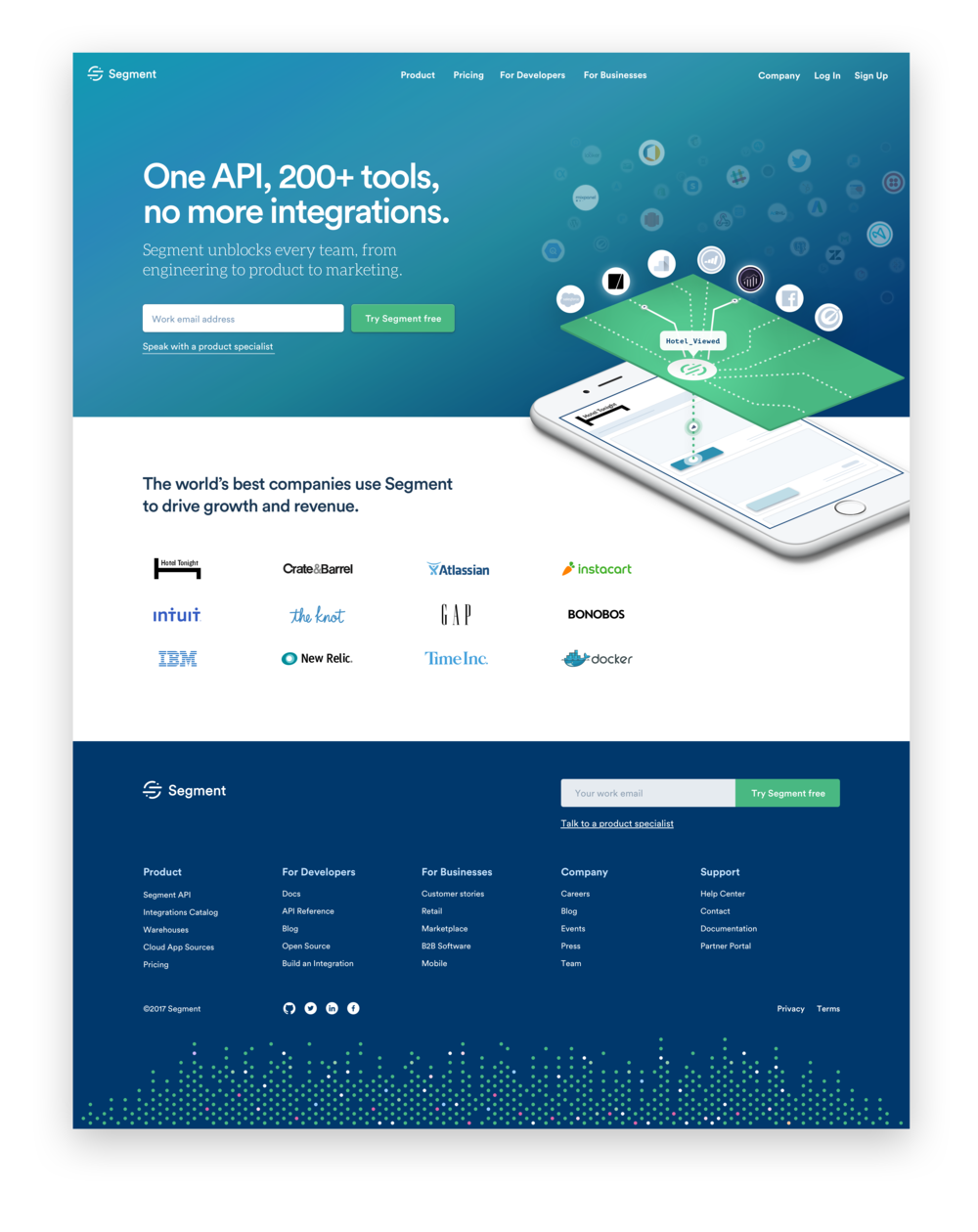 Segment Homepage—Desktop - 35% higher conversion than previous homepage design, resulting in over $1 million in new annual recurring revenue.