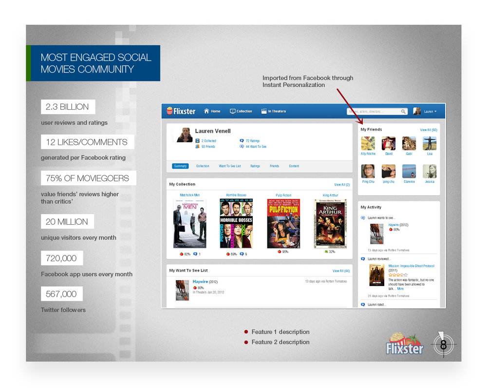 Flixster SALES presentation template - Keynote and Powerpoint (2013)