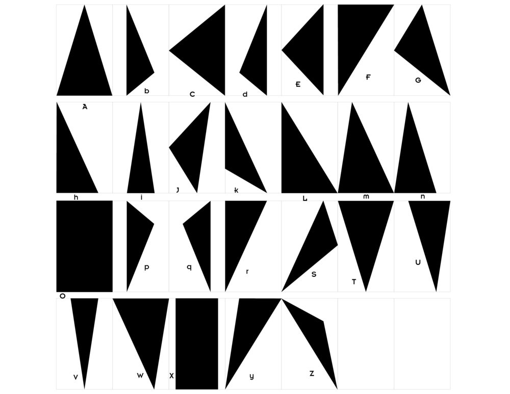 Triangle alphabet - The Present Group wanted a cohesive, flexible identity system that could be used across all of their different projects. This triangular alphabet, based on the golden ratio, allows The Present Group to create a visual mark for each project by stacking or sequencing the triangles that correspond to the project's initials. Because The Present Group works at the intersection of physical and digital art, triangles rendered in fully saturated CMYK represent physical projects, and RGB represents digital projects.