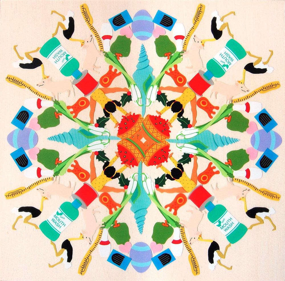 Salsa Gymnast - Mrs. Grossman's stickers, plywood, acrylic polymer emulsionApprox. 6