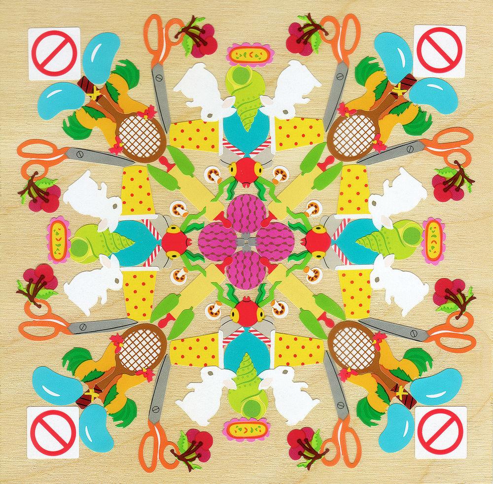 Bugs Bunnies - Mrs. Grossman's stickers, plywood, acrylic polymer emulsionApprox. 6