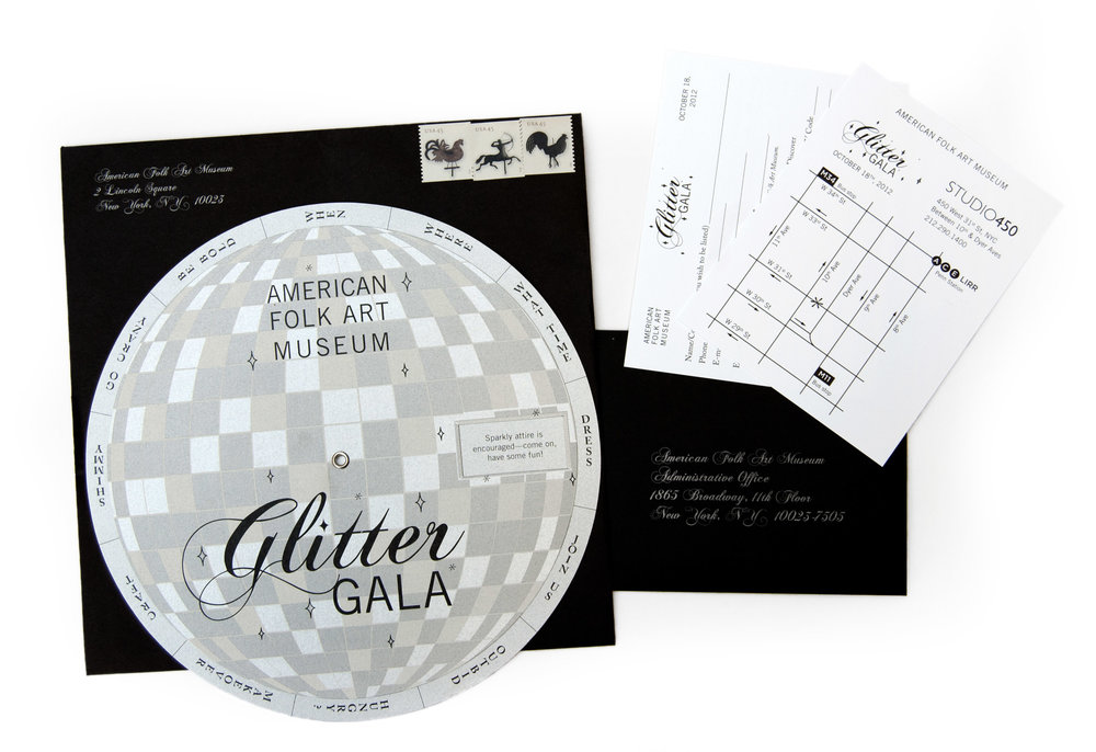 Glitter Gala Invitations - Invitation wheel, map, and reply card for the American Folk Art Museum's annual benefit (2012)Die-cut lithograph on pearl-finish cover, with metallic ink, center grommetApprox. 8