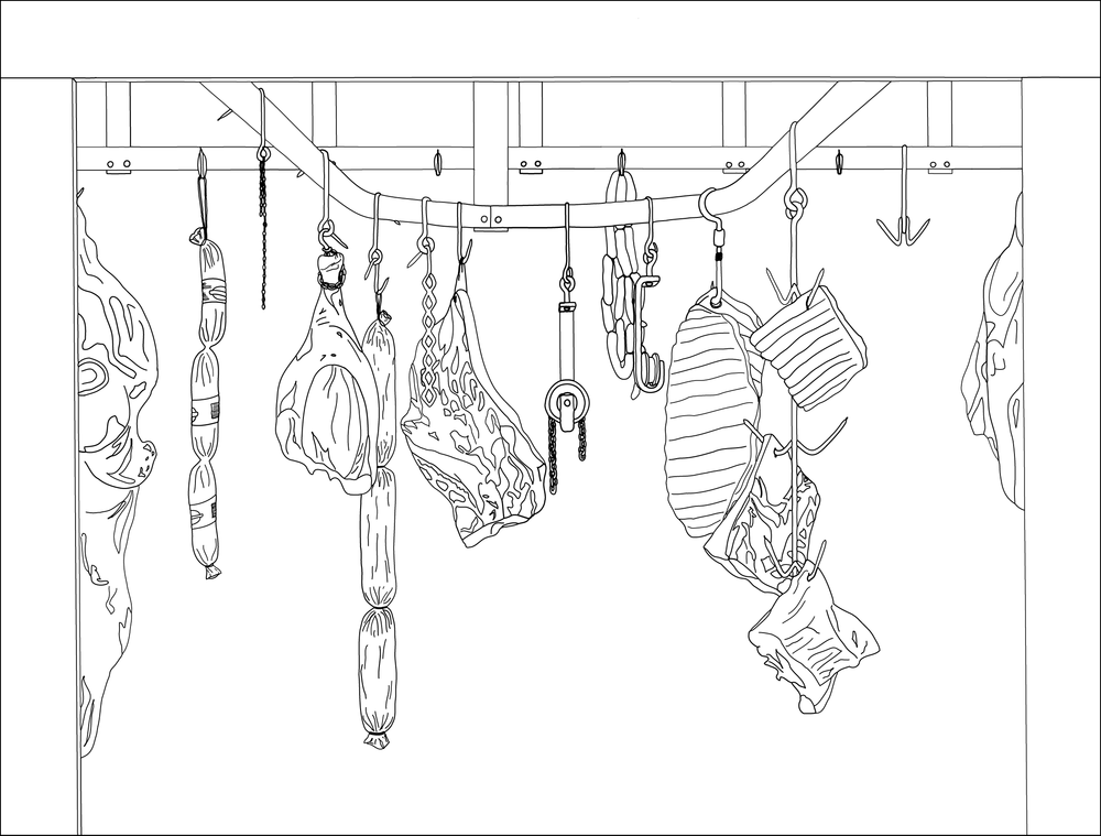 Meat Locker Illustration - Originally drawn as a huge, two-panel diptych for a solo show at the Society for Contemporary Craft museum. Re-drawn digitally as a 14