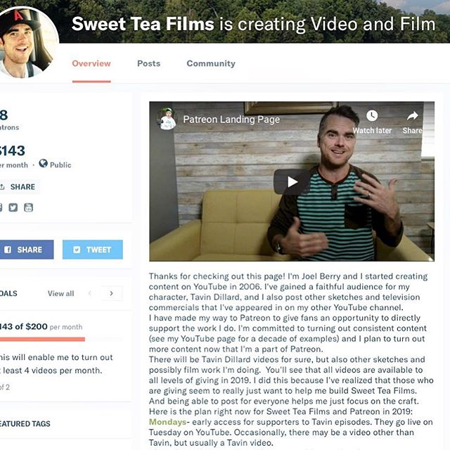 Happy New Year! See what I'm doing on Patreon and how you can be involved with Sweet Tea Films this year. Link in bio. And thanks to those who are already part of the party at Patreon (say that three times fast!). #sweetteafilms #joelberry #patreon #weeklyvideos #comedyvideos #percygammons #tavindillard #whenlake #colorcommentary #shortfilm #cleancomedy #familyfriendly #2019