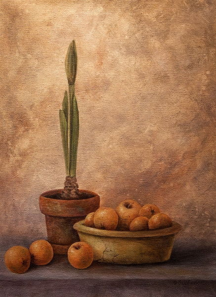 Amaryllis and Apple by Jeannie Johnson | $245