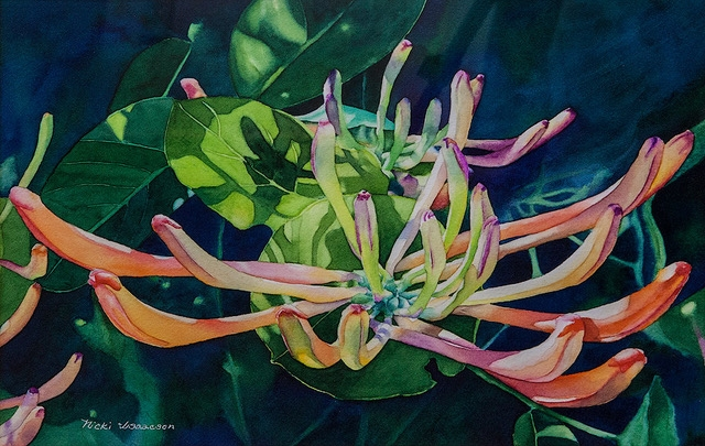 Honeysuckle Bliss by Nicki Isaacson (Watercolor) | $375