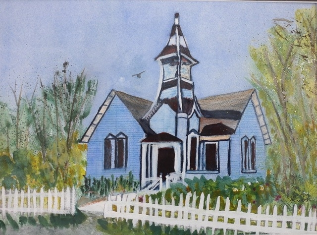 Church Open - Oyster Ville by Jean Knox (Watercolor) | $180