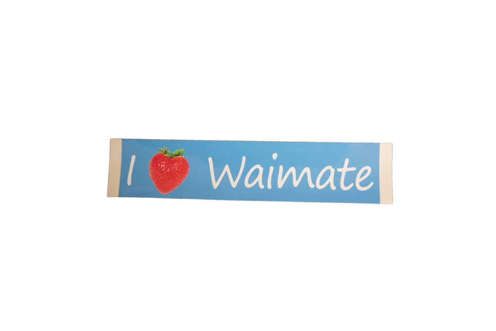 I Love Waimate Bumper Sticker.   Car Bumper Sticker (23.5cm x 5.5cm).   $3.00