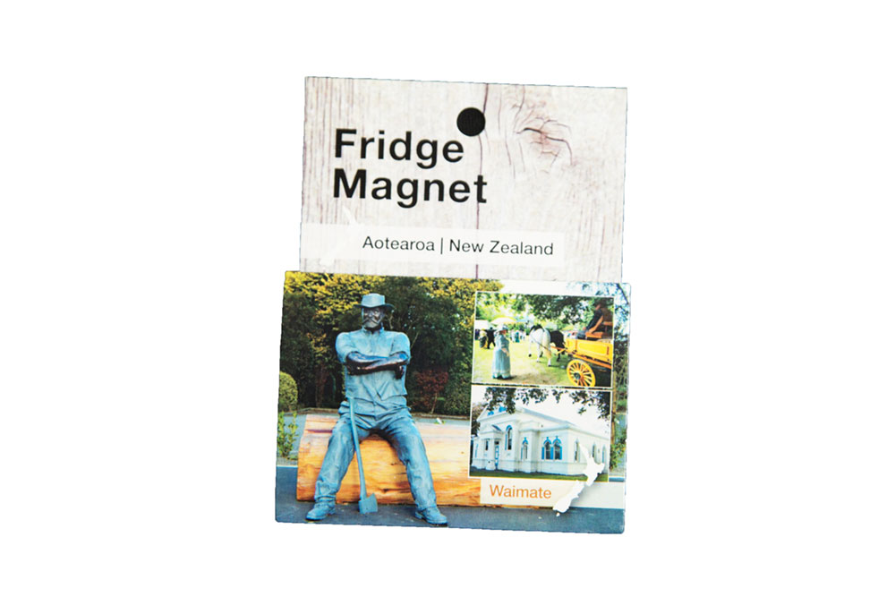 Fridge Magnet.   7cm x 5cm. Bushman statue with historical inserts.   $3.50