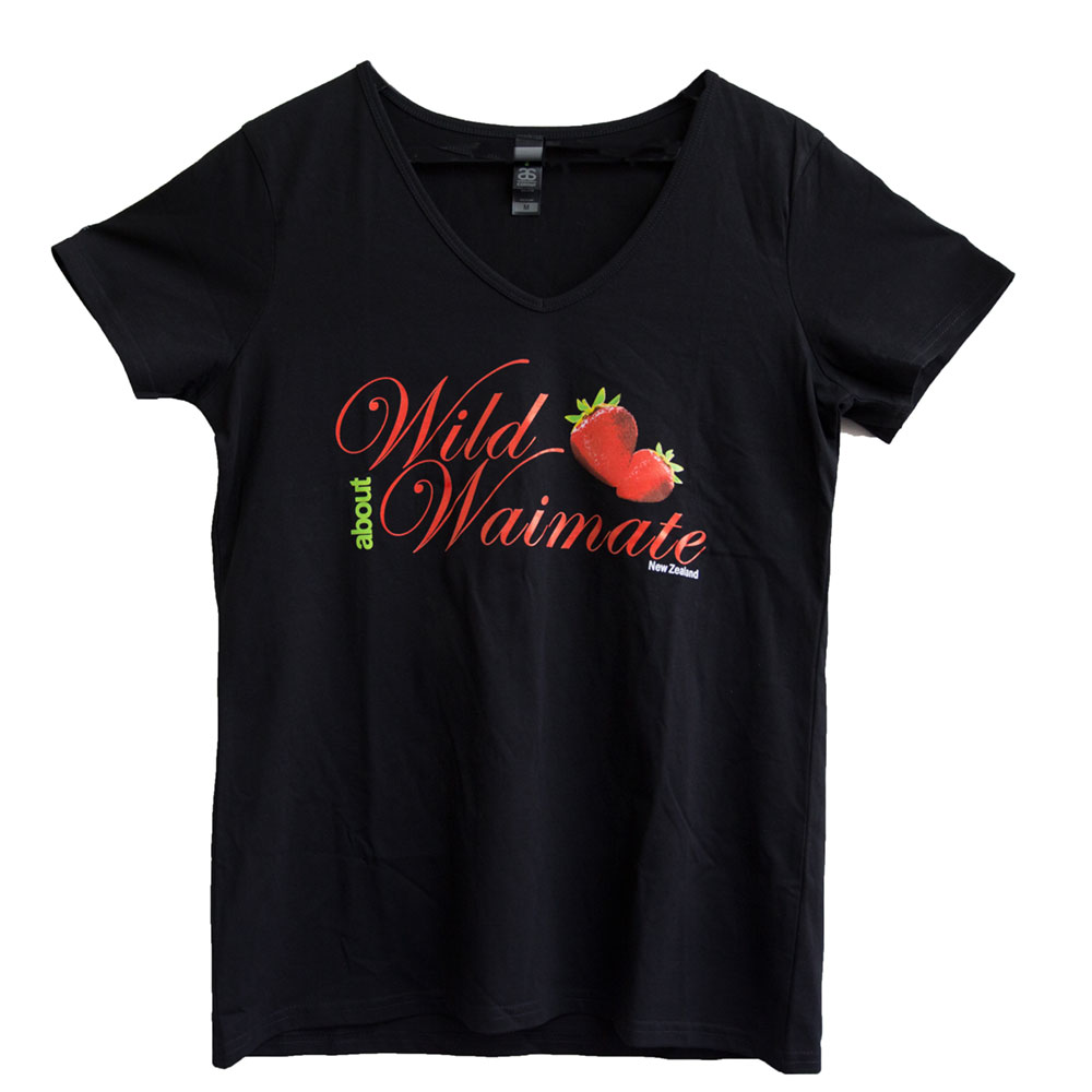 Women's Black Short Sleeve Tee.   'Wild about Waimate' strawberry logo  Sizes M – XL   $32.00