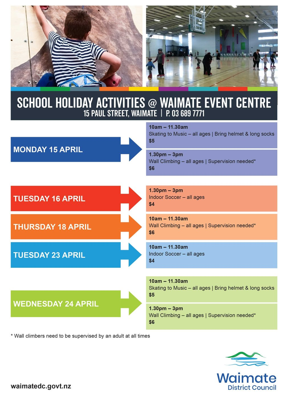 Outside of these activities you can head to the Event Centre and play badminton, table tennis, shoot hoops, skate and more.  It's a good idea to phone and check before coming in, incase the courts are booked. You need to book to use the climbing wall.  Learn more about the Waimate Event Centre  here .