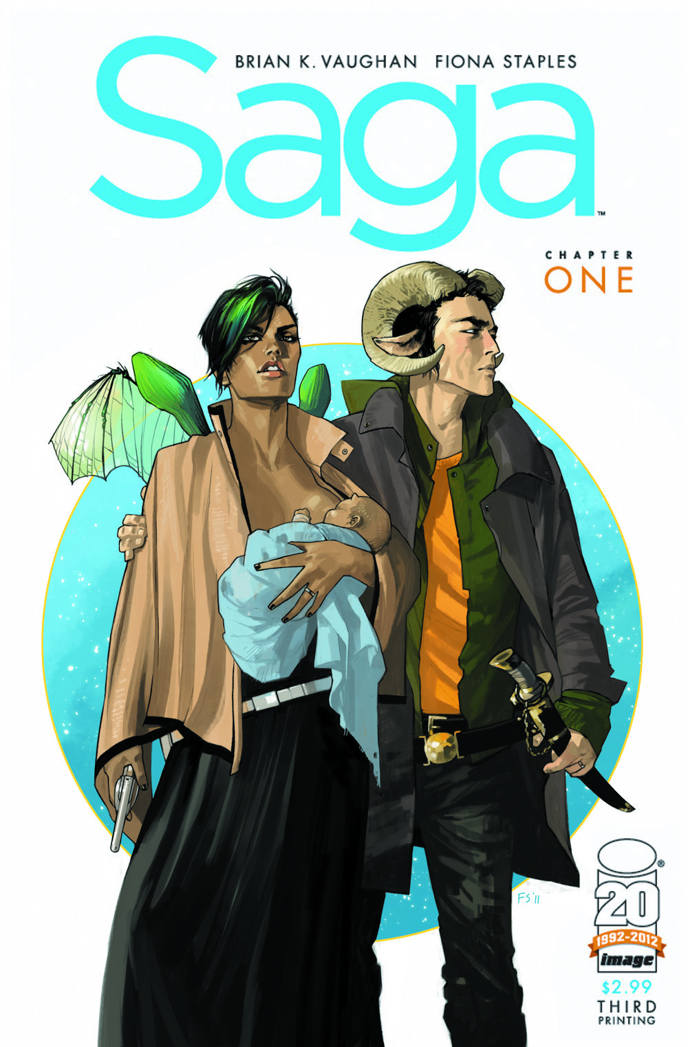 Saga     Saga is a gripping space opera with fascinating characters, rich world-building, incisive social commentary, and a lot of heart. In its primary plot, Saga follows Alana and Marko, a young interracial couple from warring worlds who are on the run from their respective authorities with their newborn infant, Hazel, in tow. The story of star-crossed lovers or young parents trying to negotiate the waters of their relationship post-baby is not new, but writer Brian K. Vaughan breathes warm, sharp, and witty life into these old stories. Narrated from the perspective of an unseen, grown-up Hazel, the Saga books feel more like a strange family scrapbook than anything else. And it's a tribute to Vaughan's assured writing that Saga to skip from the sweet, funny, and bawdy to the truly grim and horrifying without ever giving its readers tonal whiplash. ...  Learn More