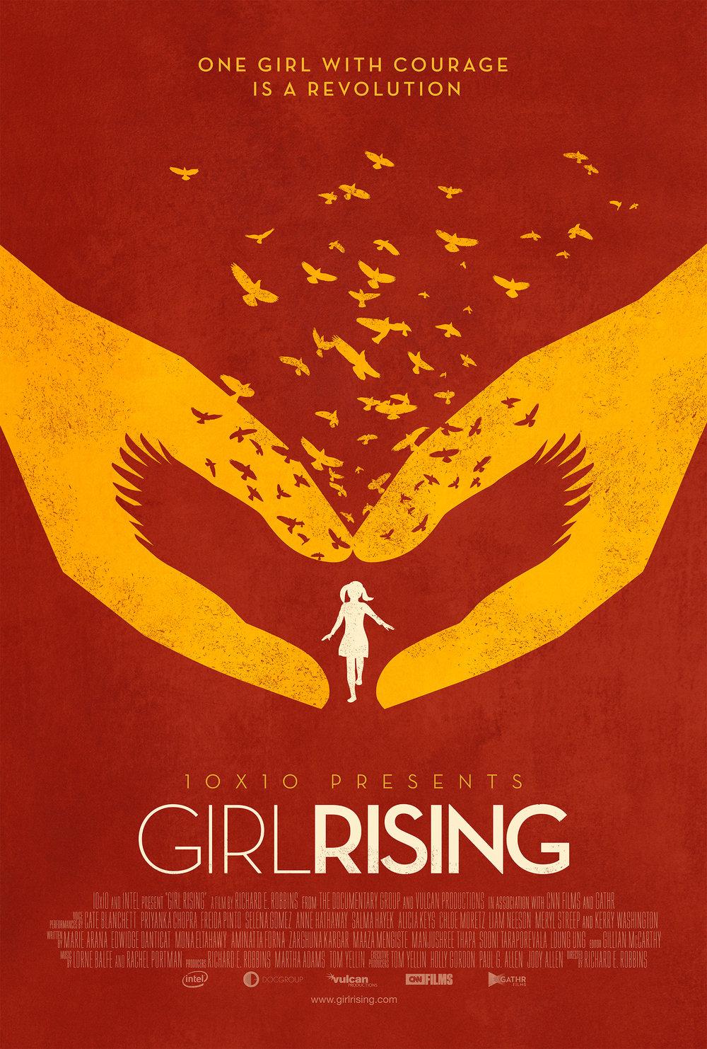 """女孩崛起    """"女孩崛起""""是由公益组织10x10制作的一部纪录片,旨在为全球贫困女童提供平等的教育。这部充满力量的电影聚焦于生活在发展中世界的女孩们令人难忘的故事,她们努力超越环境,克服似乎无法克服的困难来实现她们的梦想。由奥斯卡奖提名人理查德·E·罗宾斯(Richard E.Robbins)执导,多位著名女作家撰写,并由梅丽尔·斯特里普(Meryl Streep)、克里·华盛顿(Kerry Washington)、安妮·海瑟薇(Anne Hathaway)等知名女演员配音。  阅读更多"""