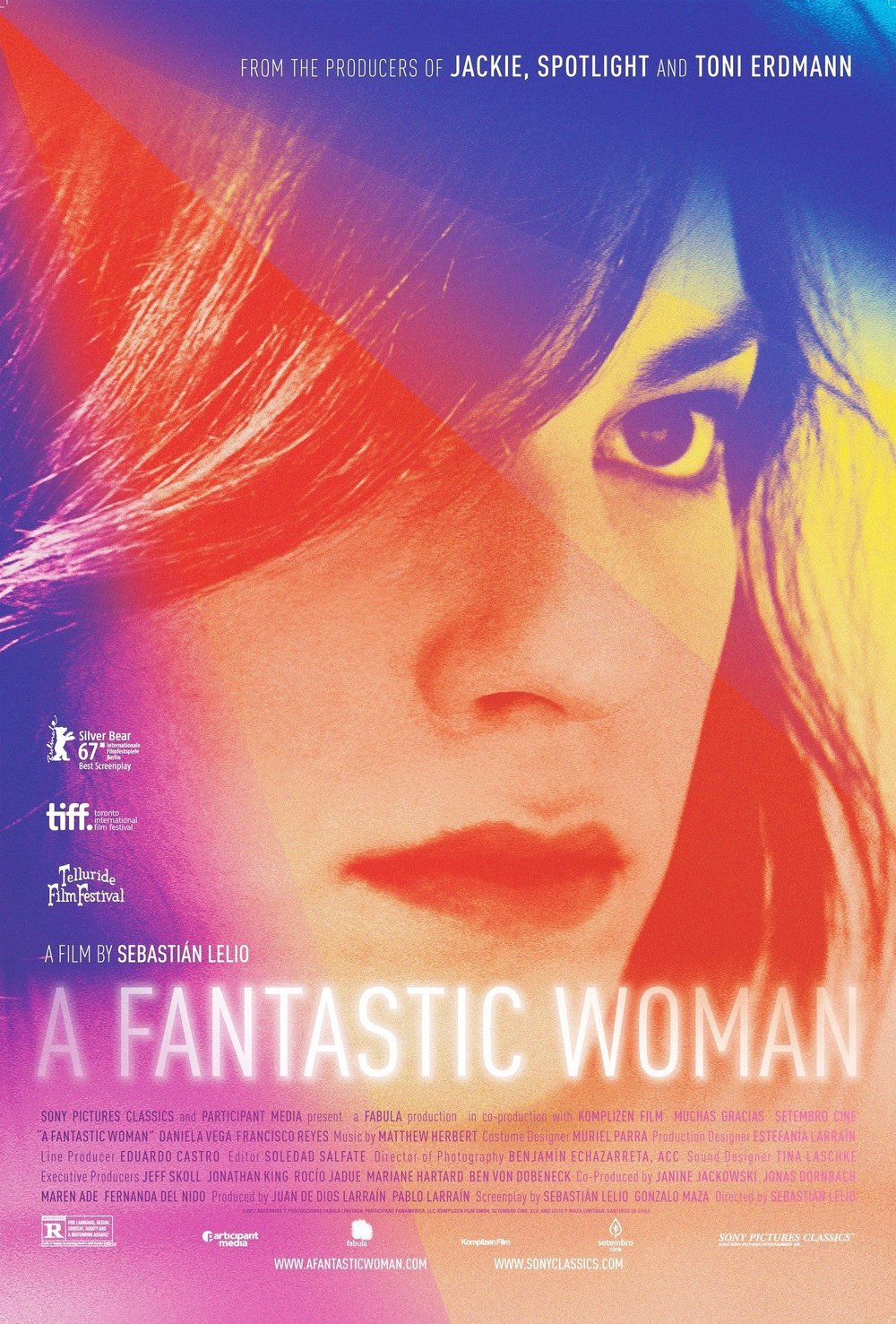 A Fantastic Woman    Somewhere in Santiago at a dimly-lit nightclub, Orlando, the kindly and well-off owner of a textile company, locks eyes with Marina, a hopeful singer and the roughly half-his-age love of his life. But, unfortunately…   Read More