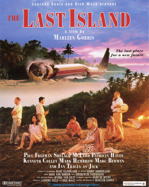 The Last Island    The Last Island is a feminist disaster movie in which seven very different people and a dog survive an air disaster. They crash on a desert island and turn out to be the sole survivors of a world catastrophe. The question arises whether the human race should be allowed to survive. When one of the men increasingly takes on the role of leader, the situation escalates dramatically.