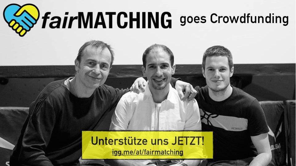 vlnr.: Wolfgang Tonninger (fairMATCHING), Mouayad Khaled (arbeitet in der Boulderbar), Alex Richter (Boulderbar)