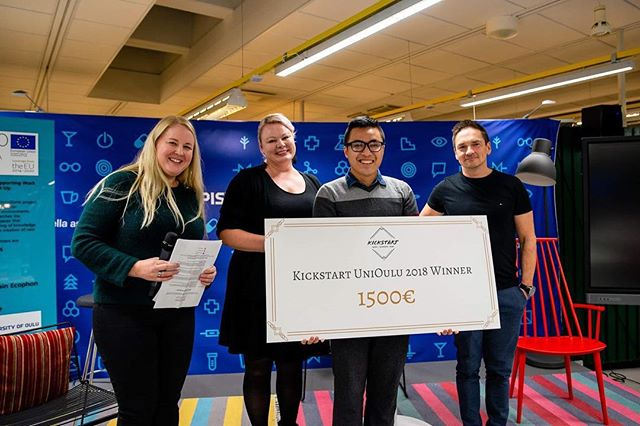 We now know the winners of Kickstart UniOulu Finals 2018! 🏆🎉🎉 3rd prize Primož Dolenec with the idea @songplete . 2nd prize Youssef Hosni and his idea of non-invasive glucose measurement device THE WINNER: Ngo Trung Kien and his eye-massage mask! .Congrats to the top 3 ideas! We'll see you in January in the grand Kickstart finals! . Photo credit @lebenderi