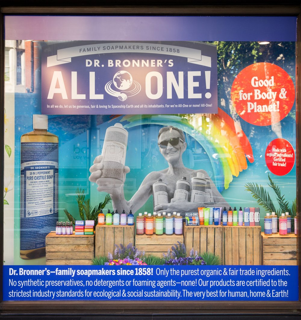 Dr Bronner Whole Foods Window