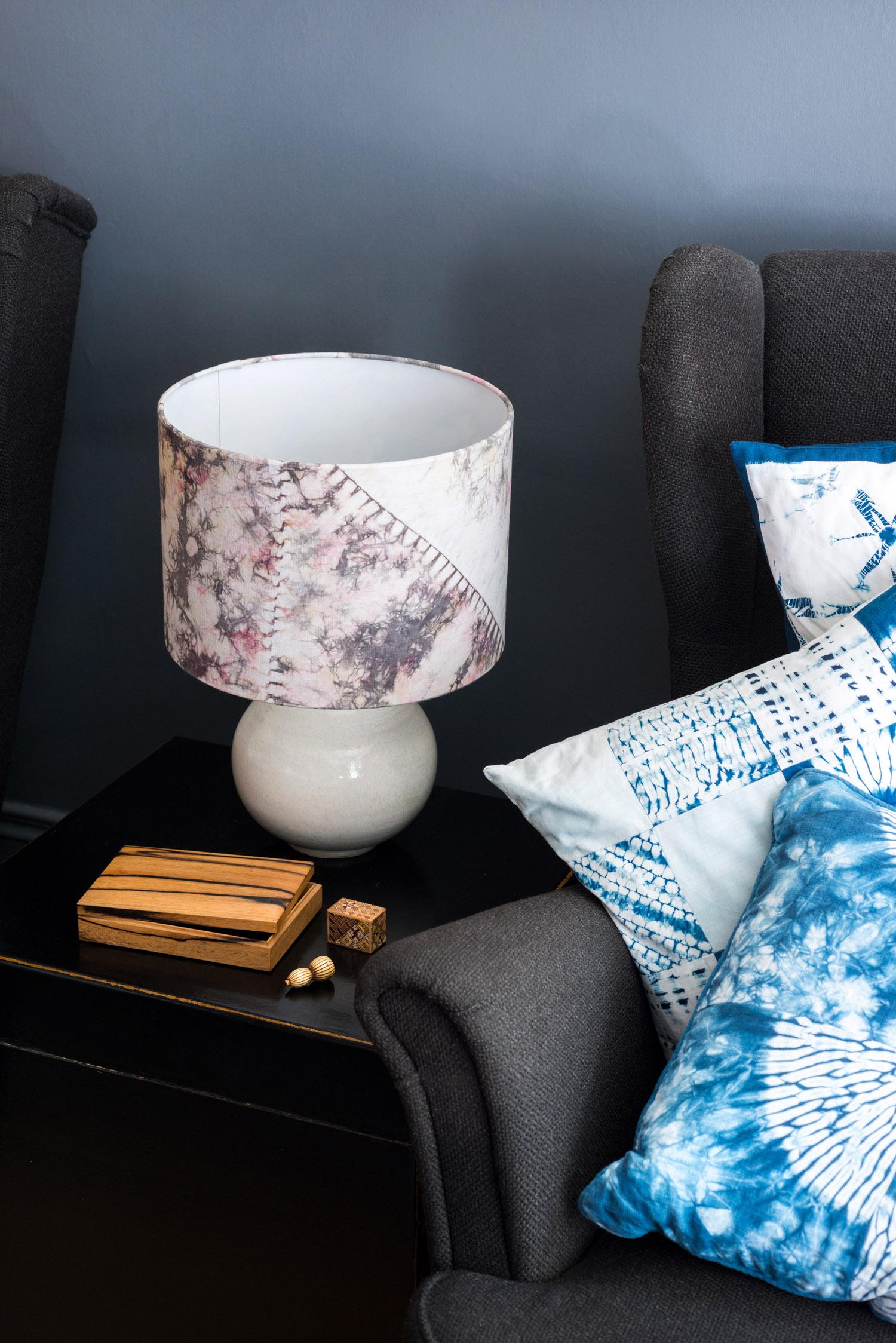 Multicoloured orimaki shibori lampshade