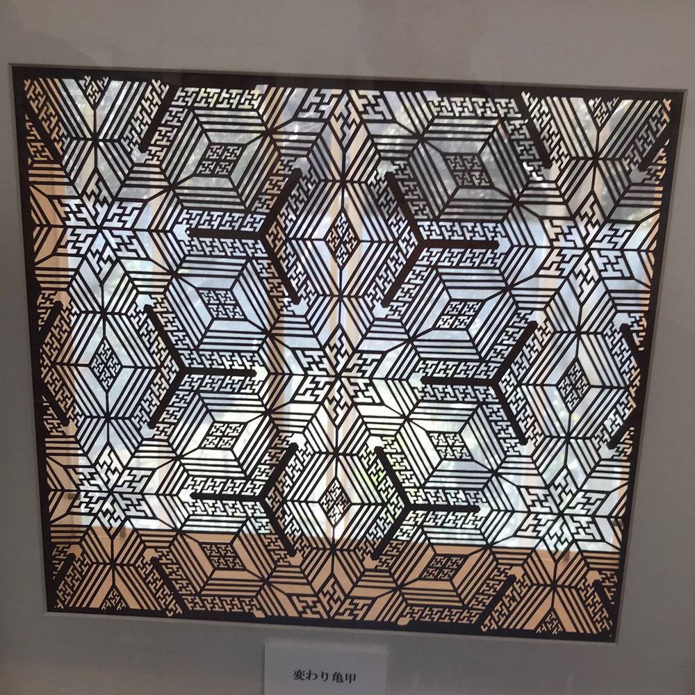 Katagami stencil - irregular hexagon pattern