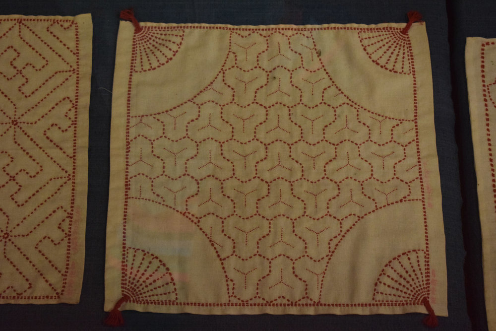 Traditional sashiko stitch work - red stitch