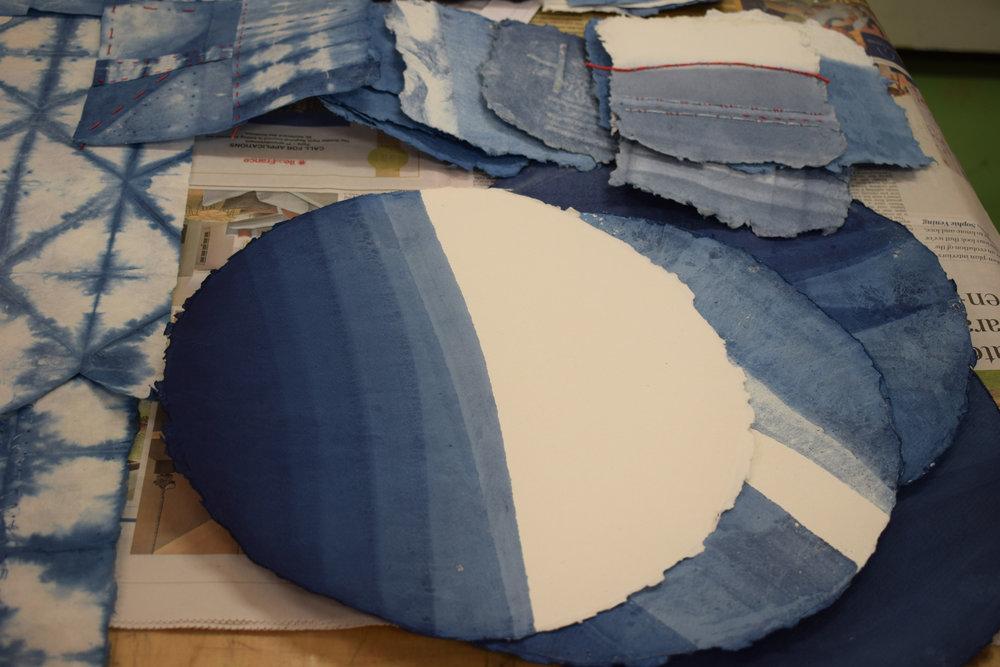 Romor designs - indigo dyed paper - student work - Jeanette.jpg