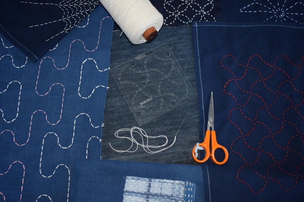 Sashiko - tools and fabrics.jpg