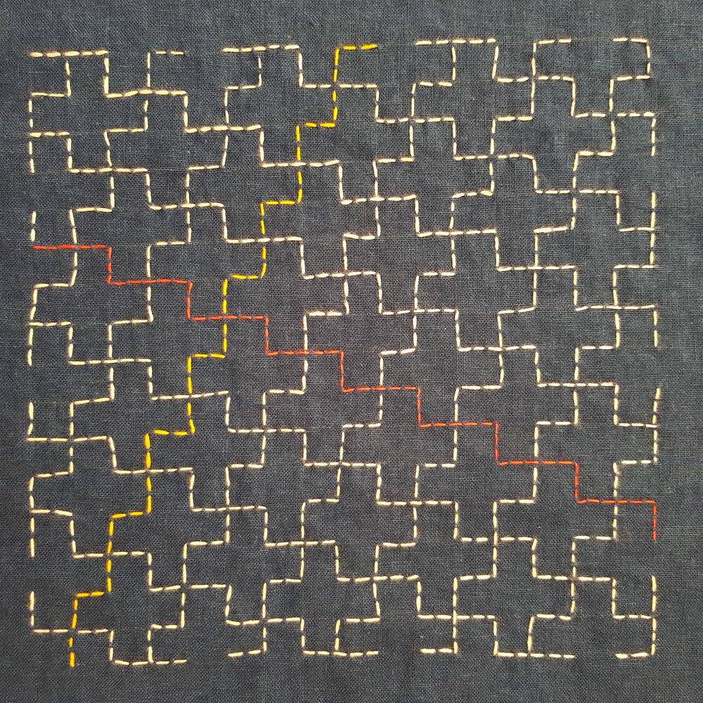 Jujitsunagi (Linked ten crosses) Myozashi sashiko on indigo dyed linen (from a drawn grid)