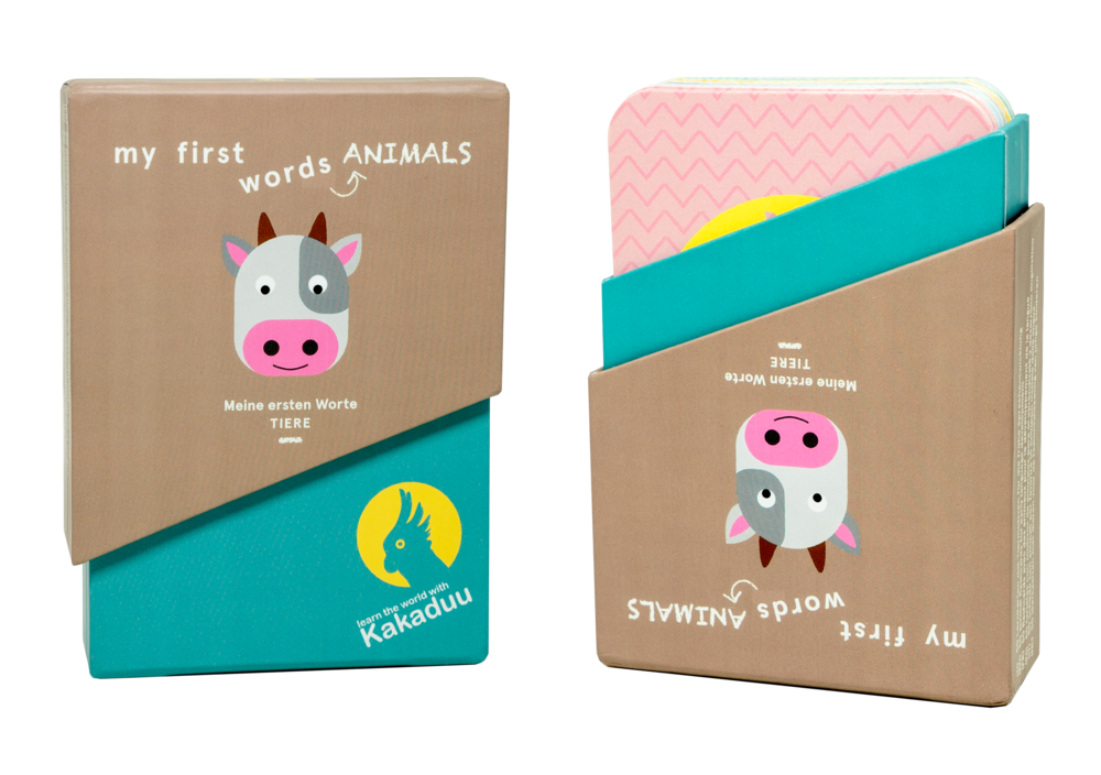 card box - Our card box comes in a beautiful design and enables a quick and easy access for your cards. Kakaduu flash cards are therefor the ideal flash cards to learn the first words with your toddlers, either at home or on the way.