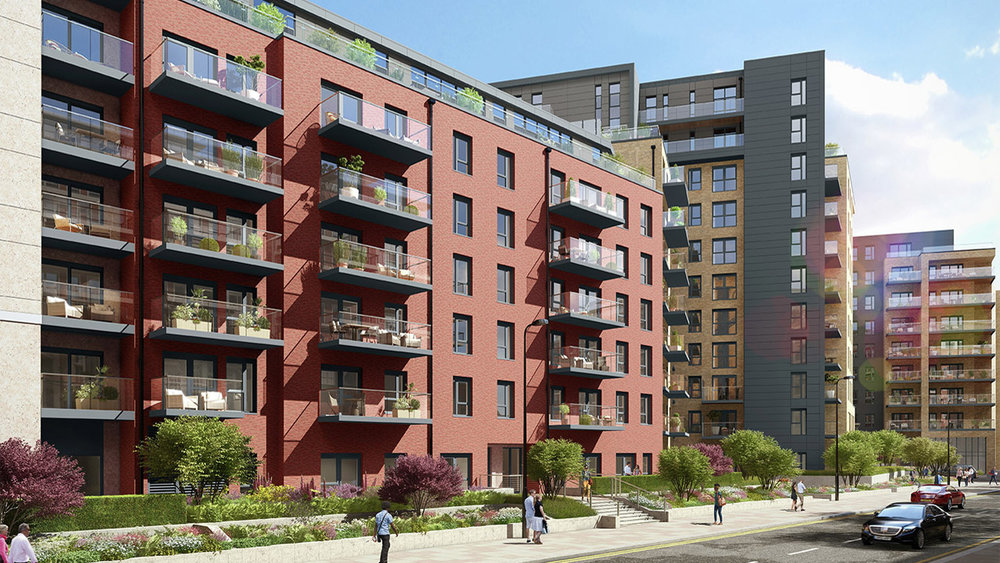 Entrance View of The Celeste Apartments in Beaufort Park, London NW9