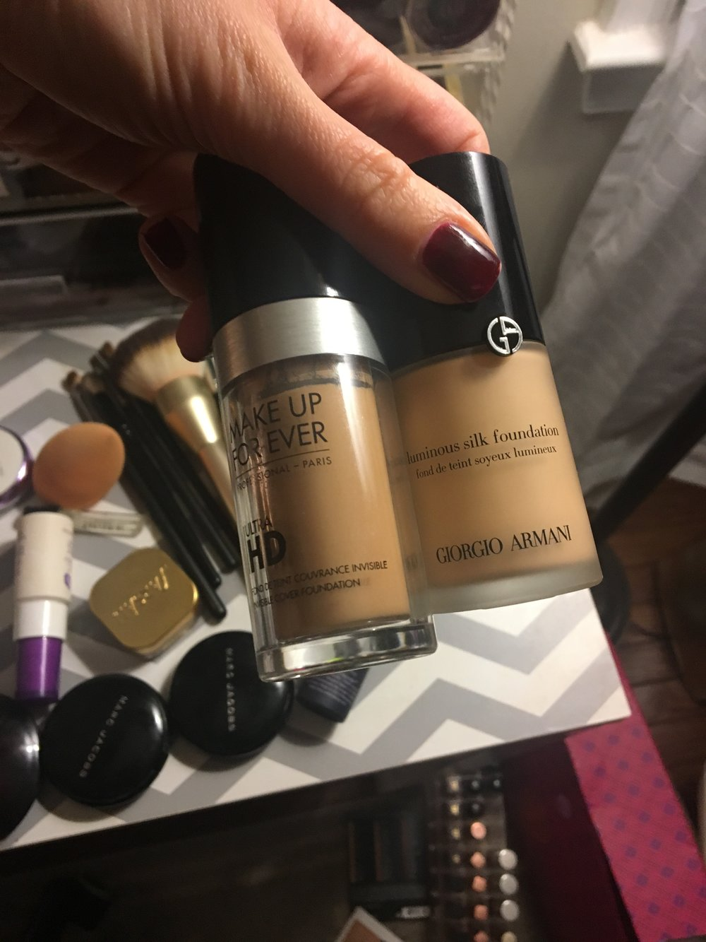 Make Up For Ever Ultra HD Foundation in Y365 + Armani Luminous Silk in 5.75