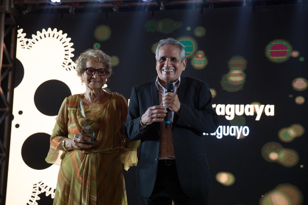 Actores de la pelicula Hamaca Paraguaya de Paz Encina, Georgina Genes y Ramón del Rio.