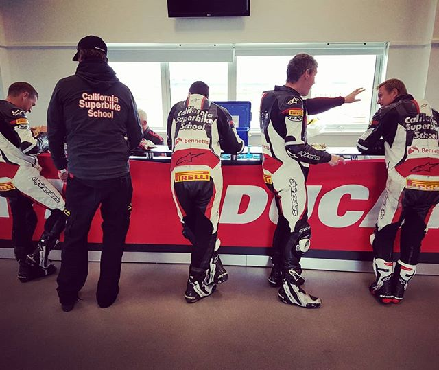 The hardest working team on motorcycles take a well deserved lunch break.
