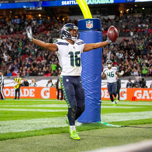 Touchdown Seahawks! Wide Receiver, Tyler Lockett.  Wembley, London.