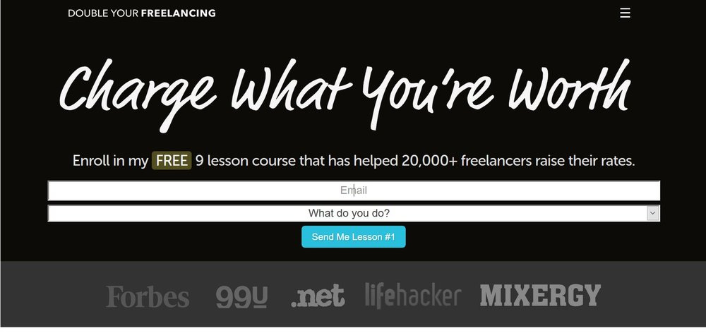 Simple Landing Page sample. Source:  DoubleYourFreelancing