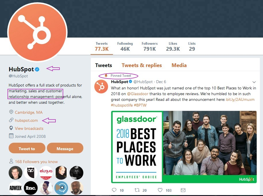 HubSpot Twitter for business account presentation